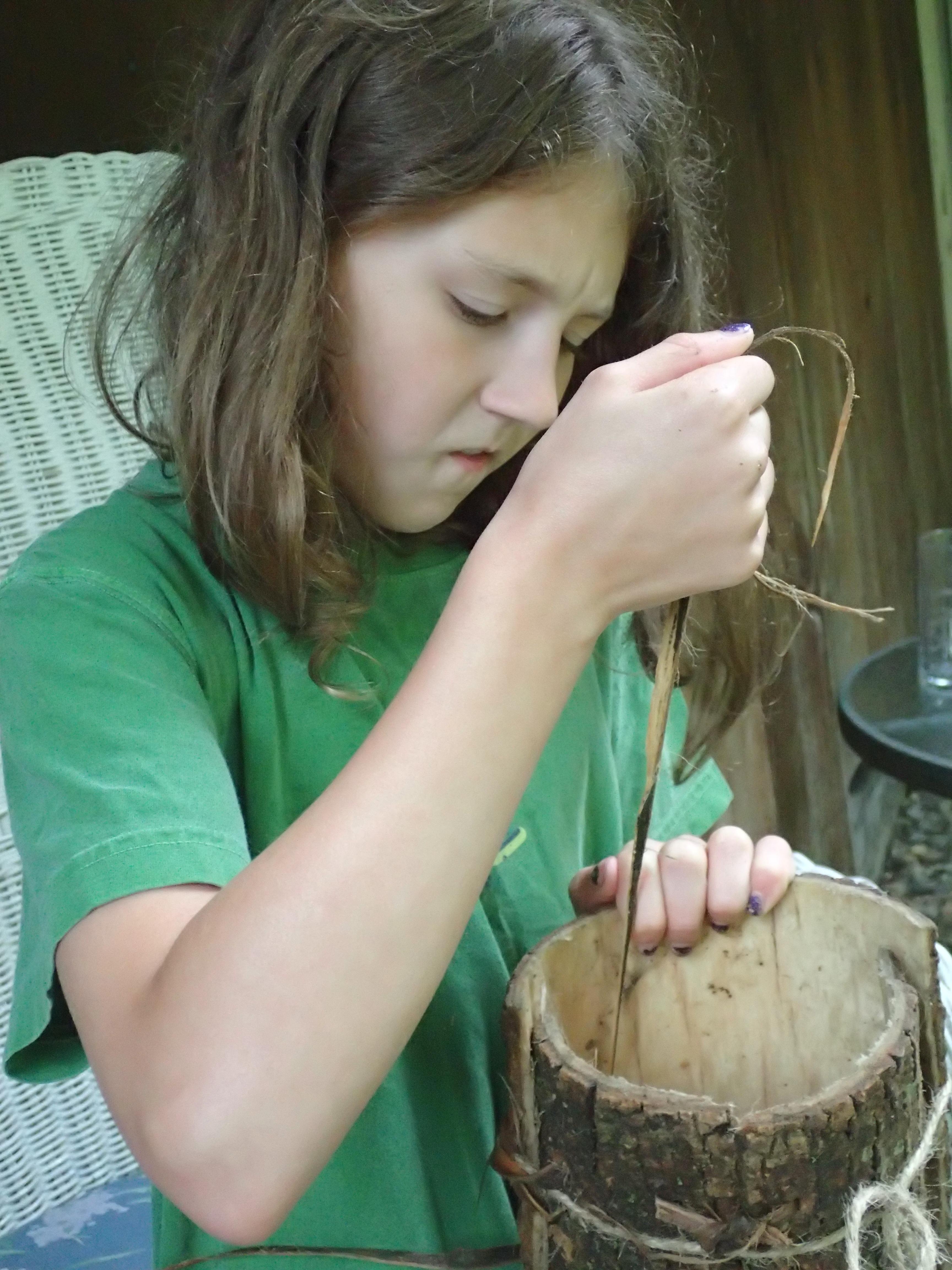 Stiching bark bucket sides