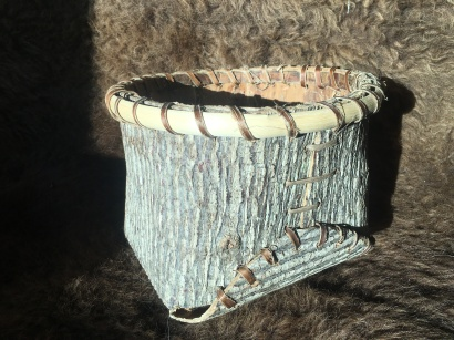Folded bark bucket of tulip and hickory